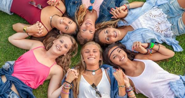 group of teens happy smiles