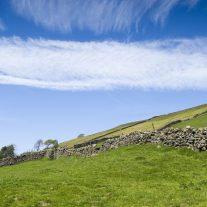 View across Nidderdale valley in the Yorkshire Dales England