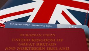 european health insurance card and passport