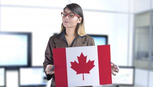 Business Woman Holding The Canadian Flag